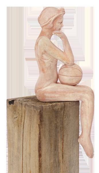Gartenfiguren sitzende Terrakotta-Frau